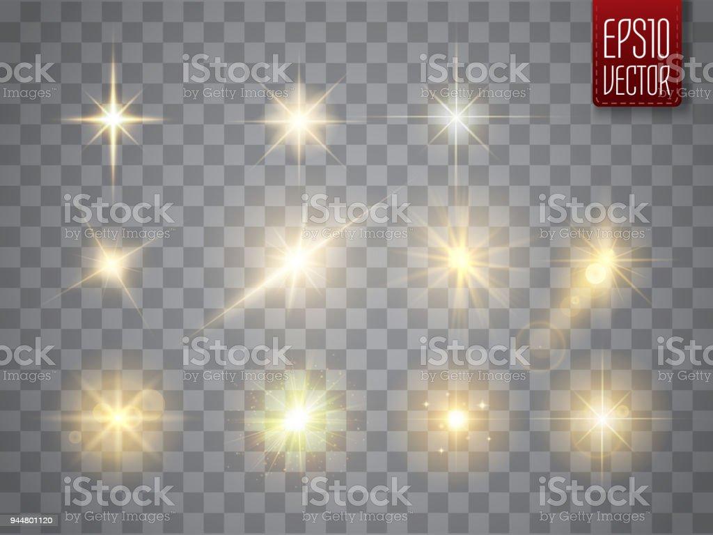 Gouden lichten sparkles collectie. Vectorillustratie van gloeiende lens flares, knippert en vonkenvectorkunst illustratie