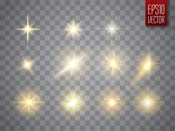 golden lights sparkles collection. vector illustration of glowing lens flares, flashes and sparks - reflektor światło elektryczne stock illustrations
