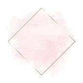 istock Golden line art, watercolor style pink texture splash. 1158979770