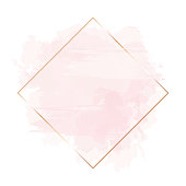 Golden line art, watercolor style pink texture splash.