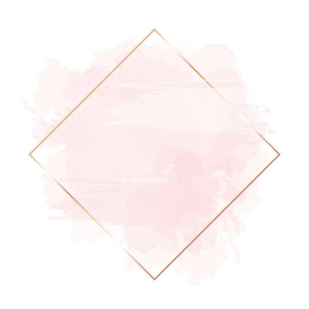 złota linia sztuki, akwarela stylu różowy splash tekstury. - różowy stock illustrations