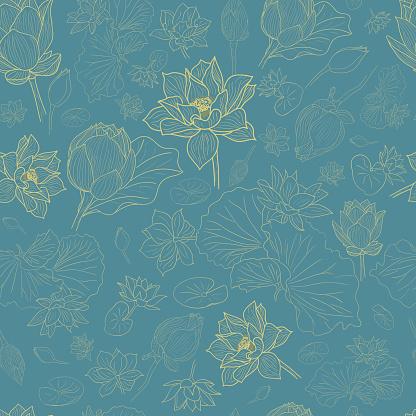 Golden line lotus flowers pattern background on blue