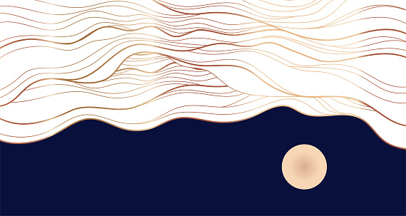 Golden line on blue abstract elegant texture. Vip luxury vector background of clouds and full moon sky.