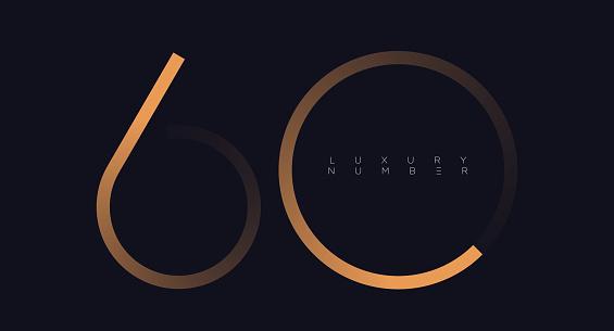 Golden line sixty logo vector.
