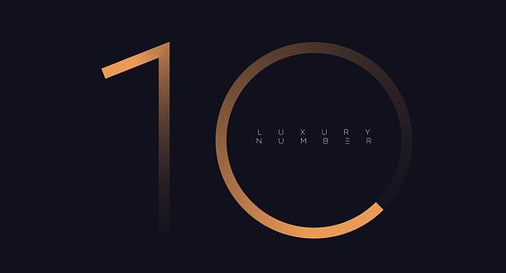 Golden line ten logo vector