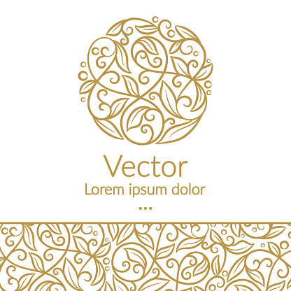 Golden linear leaf emblem. Elegant, classic vector. Can be used for jewelry, beauty and fashion industry. Great for logo, monogram, invitation, flyer, menu, brochure, background, or any desired idea.