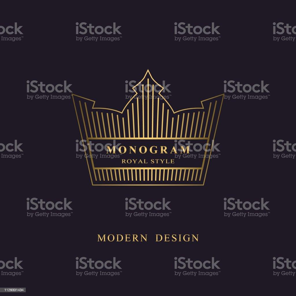 golden liner monogram crown logotype sign of king elegant