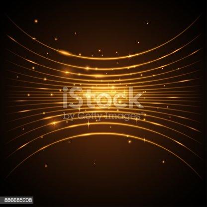 Golden lines background in vector