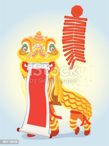 Chinese golden lion dancing and show the lucky message annoucement (Fai Chun).