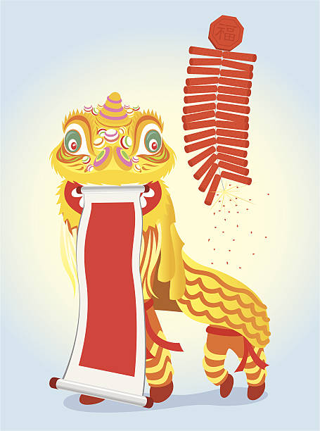 stockillustraties, clipart, cartoons en iconen met golden lion dancing - kat