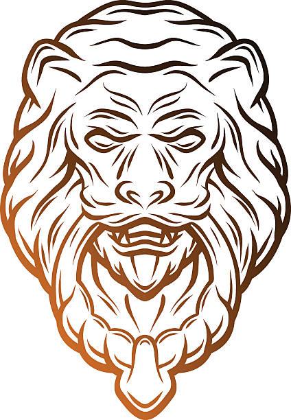 golden lion head door knocker. - türklopfer stock-grafiken, -clipart, -cartoons und -symbole