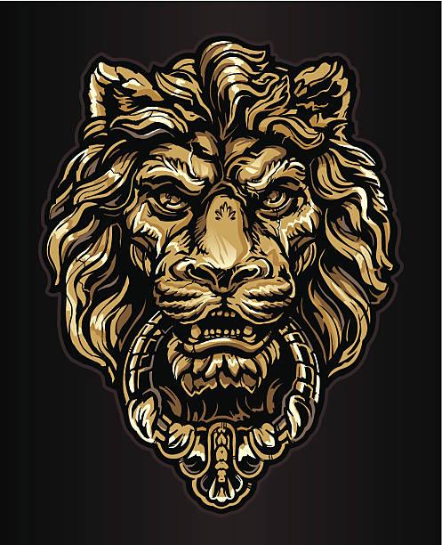 golden lion schläger - türklopfer stock-grafiken, -clipart, -cartoons und -symbole