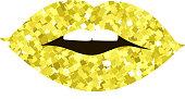 Golden lips girl silhouette