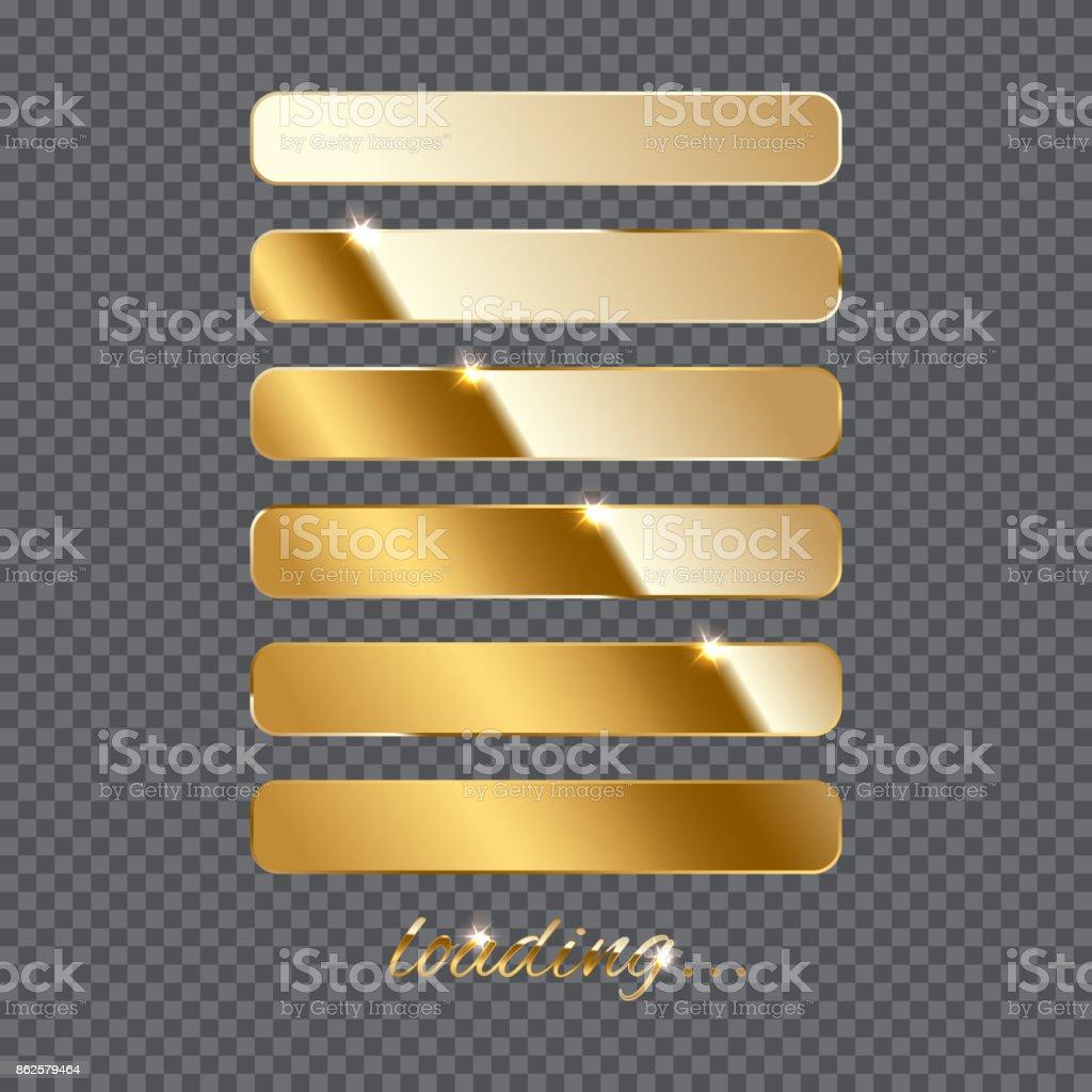 Golden loading sign and loading bar in progress on transparent background. Vector illustration. vector art illustration