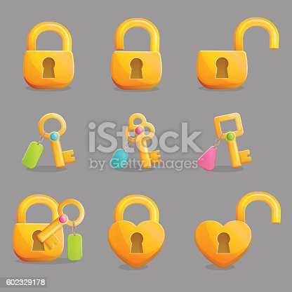 Collection of golden padlocks in various shapes and states. Open, unlocked and lockd and golden skeleton keys with charms. Game and app ui icons, decoration and design elements.