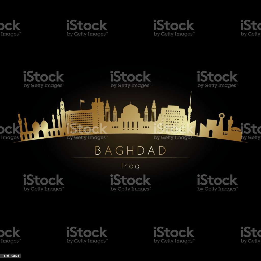 Golden logo Baghdad skyline. Vector silhouette illustration. vector art illustration