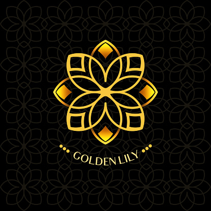Golden Lotus Flower Icon. Vector Floral Ornament Concept for Spa Centers, Yoga Classes and Beauty Salons