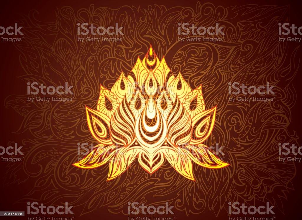 golden lotus illustration vector art illustration