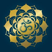 Golden lotus mandala with Om syllable