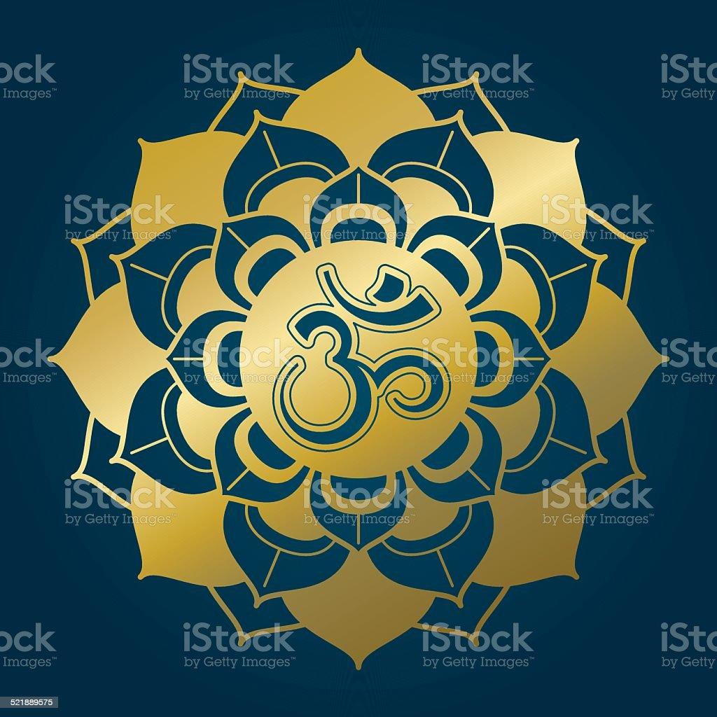 Golden lotus mandala with Om syllable vector art illustration