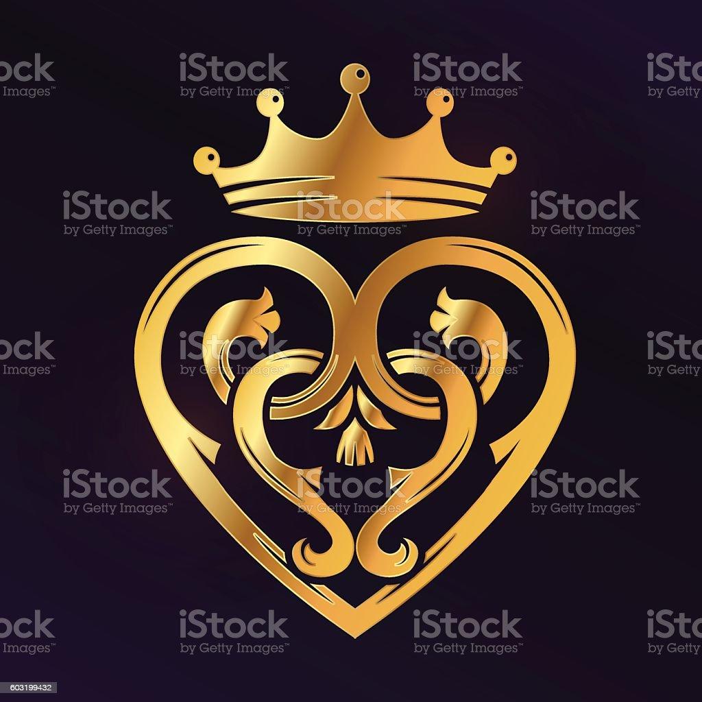 Golden Luckenbooth brooch vector design element. Vintage Scottish heart shape vector art illustration