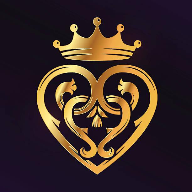 golden luckenbooth brooch vector design element. vintage scottish heart shape - hochzeitsanstecker stock-grafiken, -clipart, -cartoons und -symbole