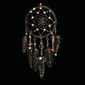 Golden luxary ornate Dreamcatcher with feathers, gemstones. Astrology, spirituality, magic symbol. Ethnic tribal element. Vector illustration