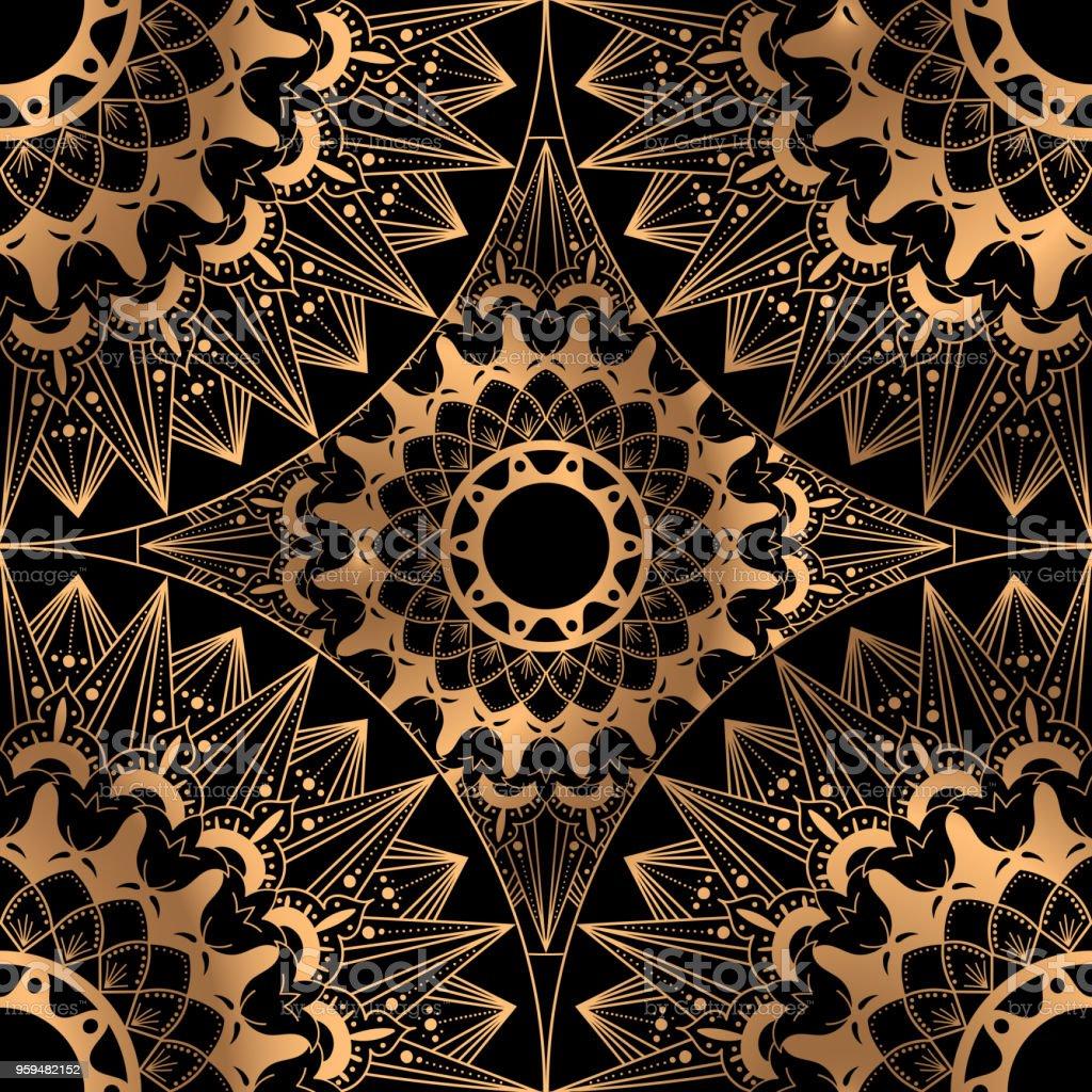 Golden Luxus Hintergrund Vektor. Orientalische Hochzeit Muster Nahtloses  Design. Indische Mandala Ornament Für Party