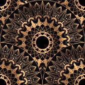 Golden luxury background vector. Gold black scale pattern seamless design. Indian mandala ornament for wedding party invitation, spa beauty, yoga salon, wallpaper, bridal fashion and holiday cards.