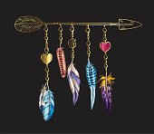 Golden luxury Boho elements. Vector illustration with feathers, arrow and chains. Ornamental bird feathers isolated on black. Multi-colored feathers