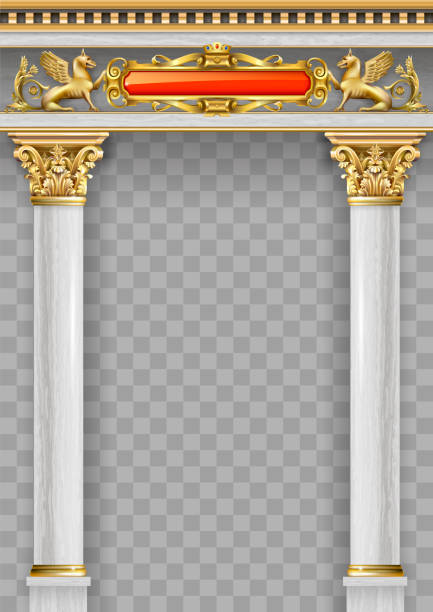 Golden luxury classic arch portal with columns vector art illustration