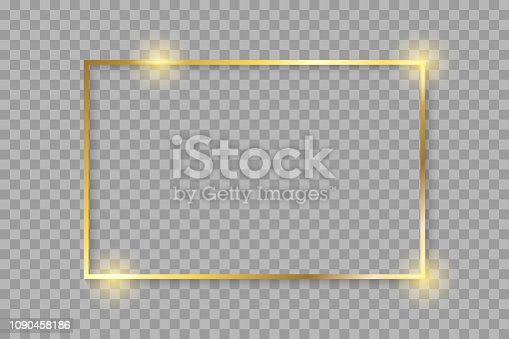Golden luxury shiny glowing vintage frame with shadows. Isolated on transparent background gold border decoration – stock vector