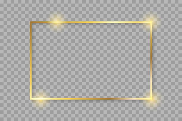 ゴールデン高級光沢のある光るビンテージ フレームの影。背景が透明なゴールドのボーダー装飾-株式ベクトル上で分離 - 金色点のイラスト素材/クリップアート素材/マンガ素材/アイコン素材