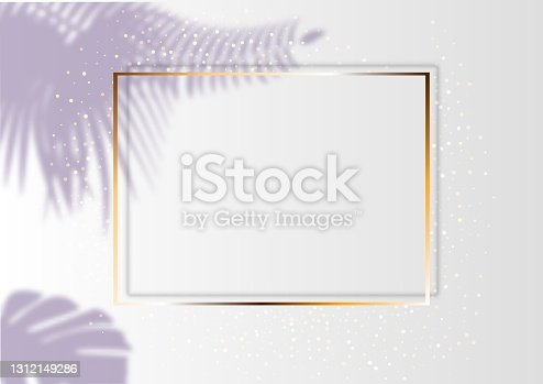 istock Golden luxury shiny glowing vintage frame with shadows. Isolated on white background gold border decoration. 1312149286