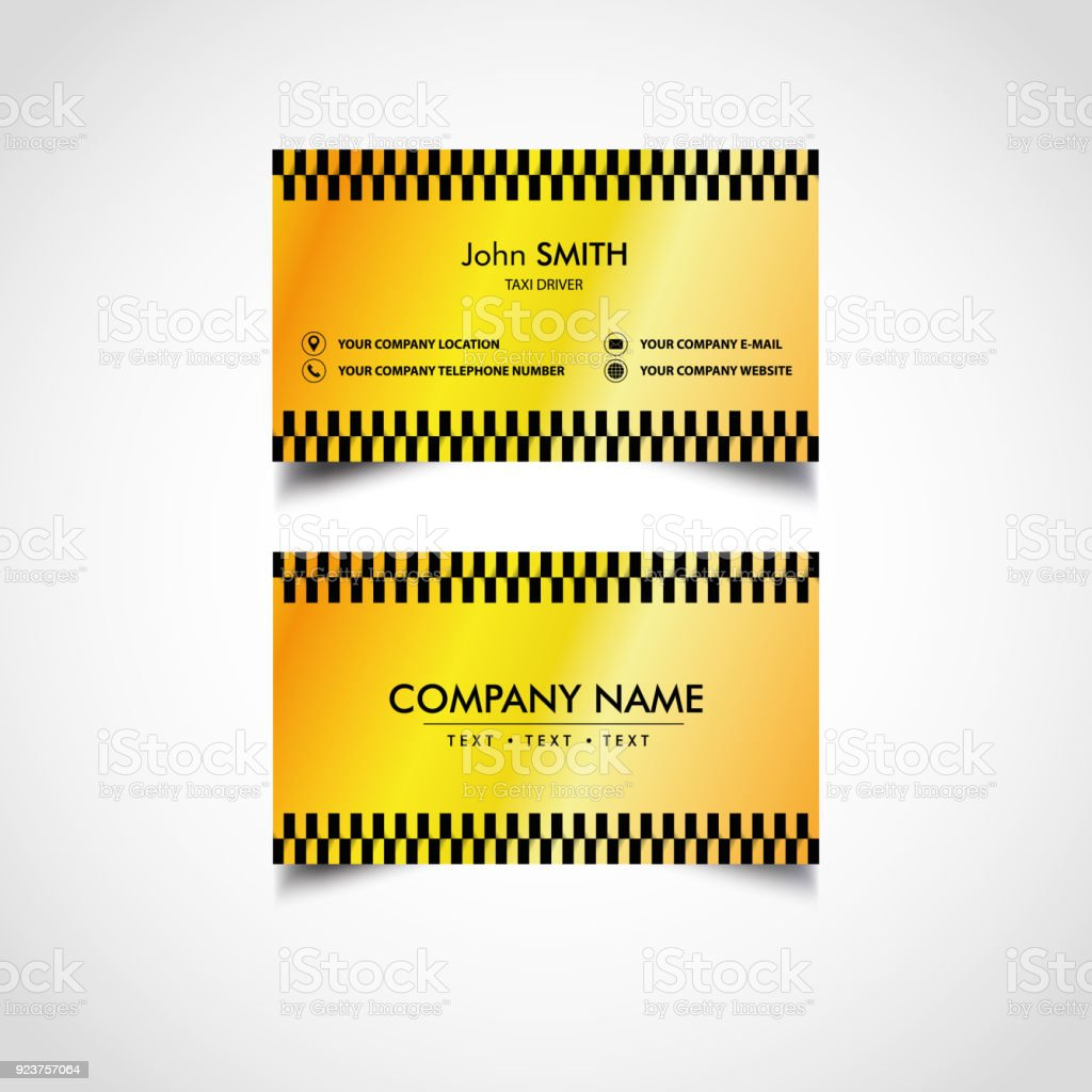 Golden Luxury Taxi Driver Card Templates Stock Vector Art More