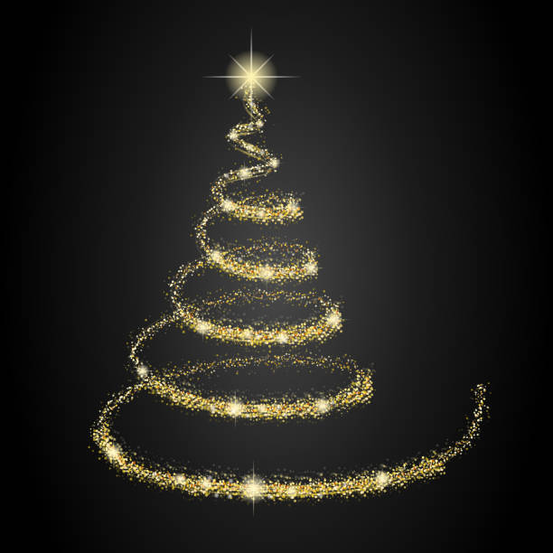 Winter Light Background With Sparkle And Waves Clip Art Vector  - Magic Christmas Tree
