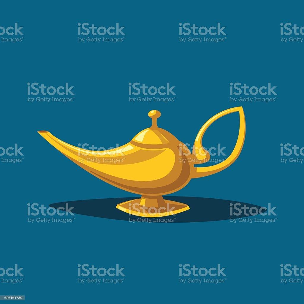 Golden magic lamp. Fable. Cartoon vector illustration vector art illustration