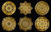 Golden mandalas design. Ethnic round gradient ornament. Hand drawn indian motif. Mehendi meditation yoga henna theme. Unique floral print