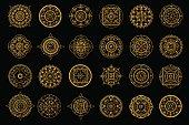 Golden mandalas on black background. Boho style vector design elements.