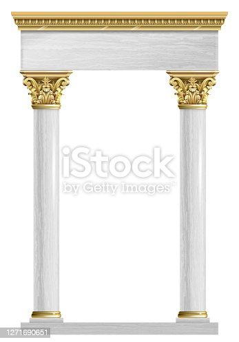 istock Golden marble arch portal Baroque 1271690651