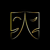 Theatrical masks icon or sign. Isolated golden silhouettes masks on black background. Vector illustration