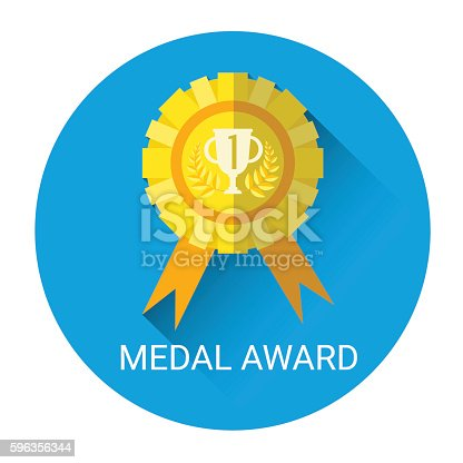 Golden Medal Award Icon Stock Vector Art & More Images of Concepts 596356344