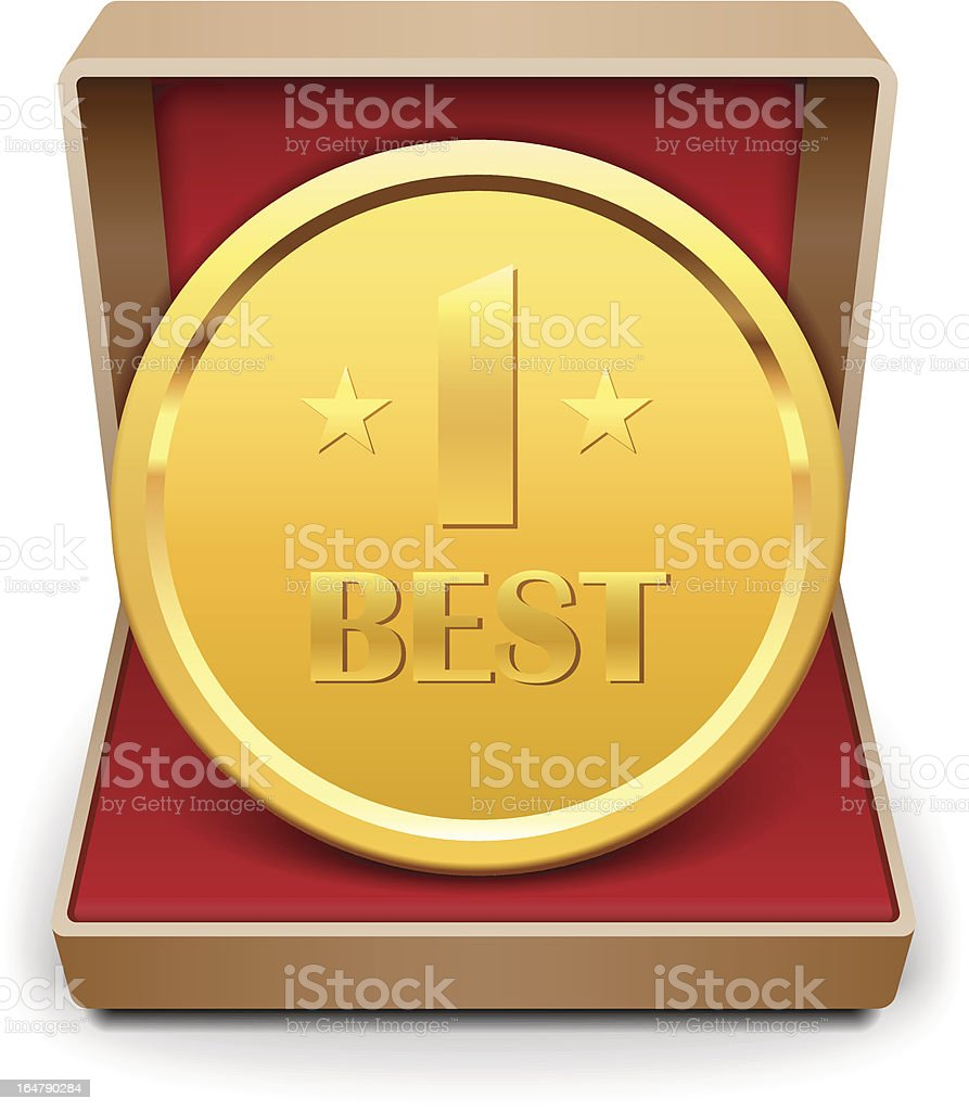 Golden medal in red gift box. royalty-free golden medal in red gift box stock vector art & more images of achievement