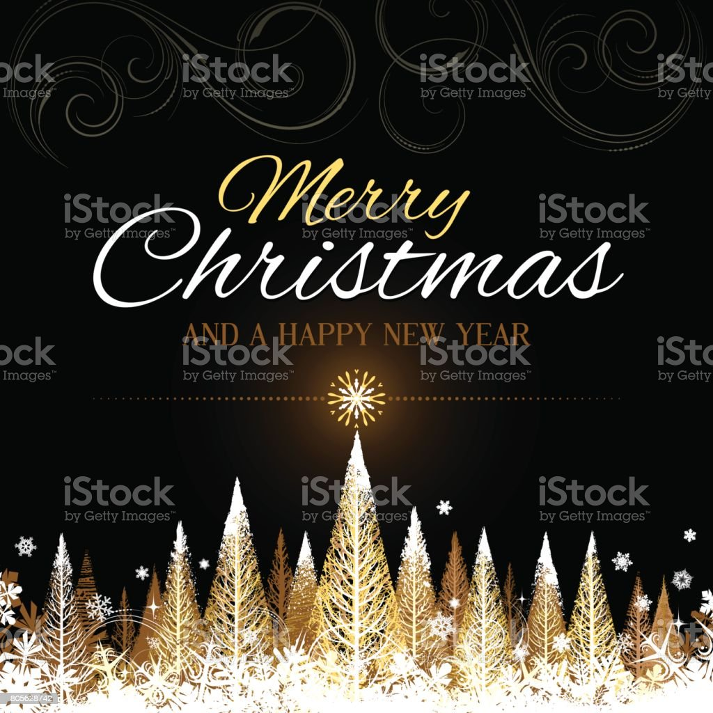 Golden Merry Christmas background vector art illustration