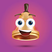 Golden Metal Bell with Face on Purple Background. Vector Illustration.