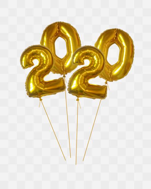 Golden metallic balloon numbers 2020 vector art illustration