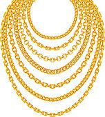 Golden metallic chain necklaces vector set