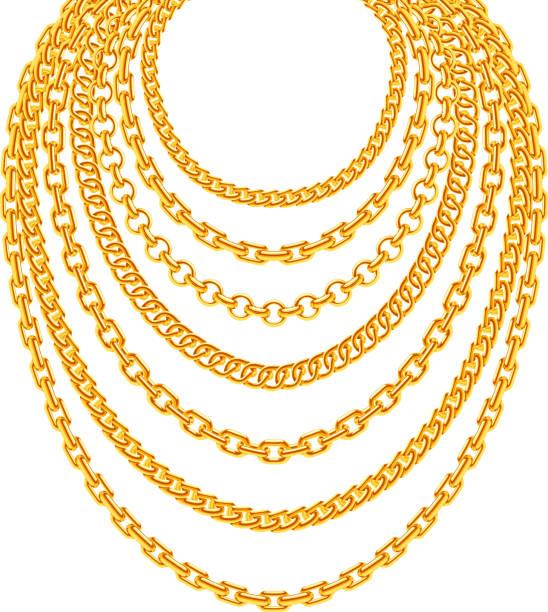 399b17700ae2 Golden metallic chain necklaces vector set vector art illustration