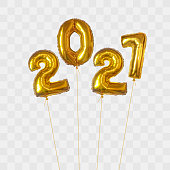 Numeral 2021 from bundle of gold foil balloons, isolated on transparent background. Happy new year 2021 holiday. Realistic 3d vector illustration