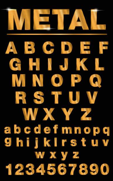 Golden metallic shiny letters isolated Golden metallic shiny letters isolated on black background nu stock illustrations
